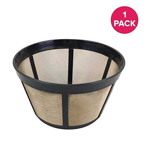 Think Crucial Gold-Tone Basket Coffee Filters Replacement - Compatible with Bunn Coffee Makers (18 Ounces) C60666 Parts - Washable & Reusable - (1 Pack)