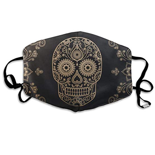 Day of The Dead Sugar Skull Dustproof Earloop Face Masks for Women Men, Anti Flu Pollen Germs Climbing Climbing Half Face Mouth Mask - Anti Allergy Face and Nose Cover -