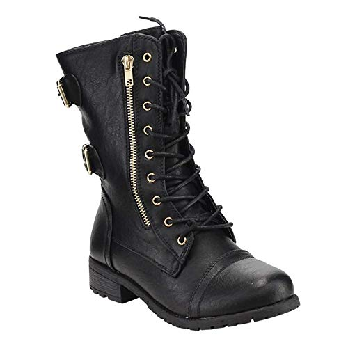 Forever Women's Mango-71 Faux Leather Military Style Ankle Boots Thick Sole Buckles,Black,8.5]()