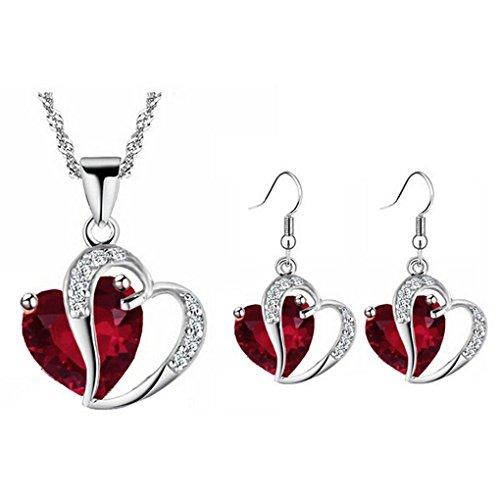 18kgp Earrings Pendant Set (fonk: 18KGP Heart rhinestones Pendant Necklace Earrings set 80172)
