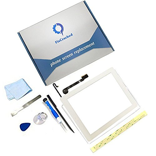 iPad 4 Screen Replacement,FixCracked iPad 4 Digitizer Touch Screen Front Glass Assembly White-Includes Home Button + Camera Holder + PreInstalled Adhesive with tools kit
