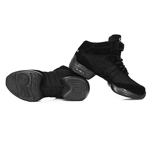 Gym Hop Danse de Jazz Femme Noir Hip Fitness Chaussure HROYL Walking Mesh Modèle de Respirant Lacet Chaussure Danse B61 Sport Sneaker wOxxIqaz