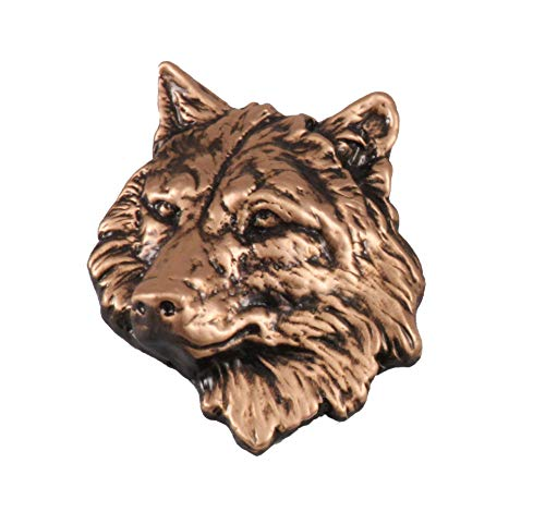 (Creative Pewter Designs Wolf Head Mammal Copper Plated Lapel Pin, Brooch, Jewelry, MC041)
