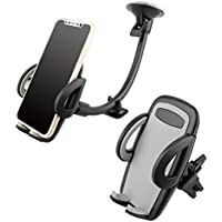 Universal Long Arm Phone Mount Cradle with Suction Cup for Windshield Dashboard, and Car Air Vent Cell Phone Mount Holder for iPhone, Android Devices, 360 Degree Rotation & Stronger Suction
