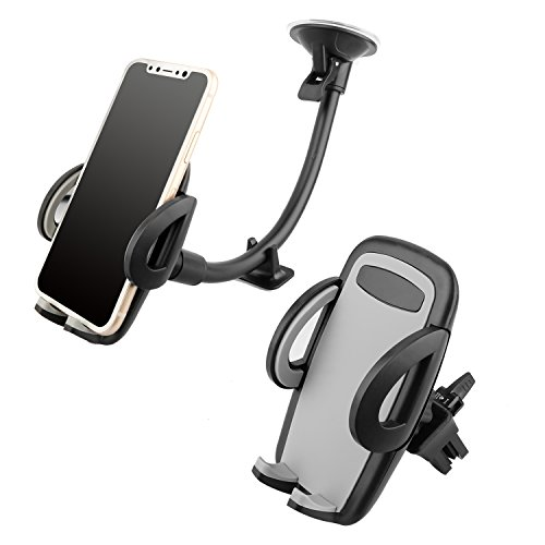 Universal Long Arm Phone Mount Cradle with Suction Cup for Windshield Dashboard, and Car Air Vent Cell Phone Mount Holder for iPhone, Android Devices, 360 Degree Rotation & Stronger Suction by Jusney