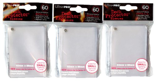 Ultra Pro Card Supplies YuGiOh Sized Deck Protector Sleeves Clear 60 Count x3