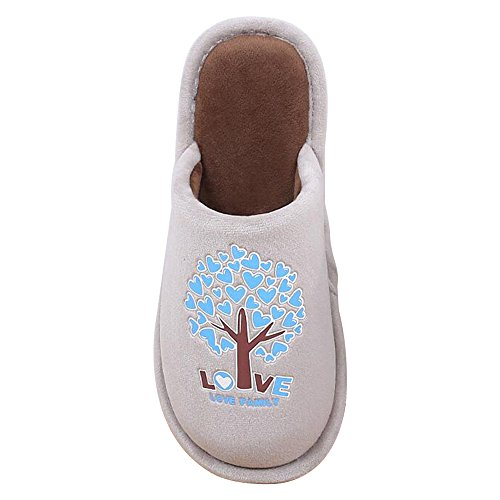 Warm Non Male Couple Slippers Indoor Eastlion Home Slippers Brown Cotton Floor Pattern slip Trees 7x88qZn1