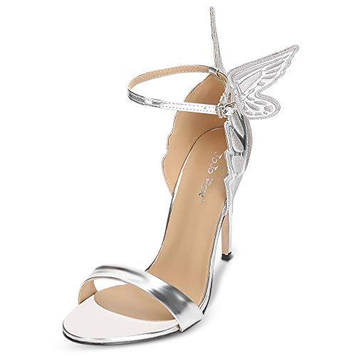 KCatsy Trendy Open Toe Ankle Strap Butterfly Stiletto Heel Sandals Women Shoes Silver ()