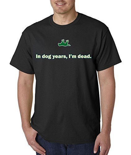 (Bright Teez 051 - Unisex T-Shirt in Dog Years I'm Dead Old Timer 2XL Black)