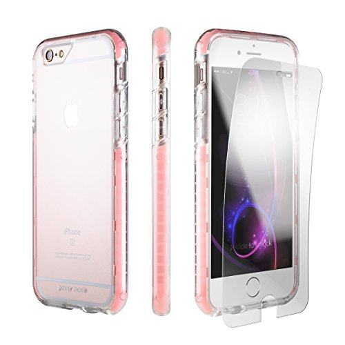 iPhone 6s Plus Case, iPhone 6 Plus Case PowerMoxie + [Armor Film Screen Protector] Slim Fit Protection Shock Absorbing case with laser carving Rubberized corners for 6plus/6splus - Rose Gold Clear (High Tech Iphone 6 Case)