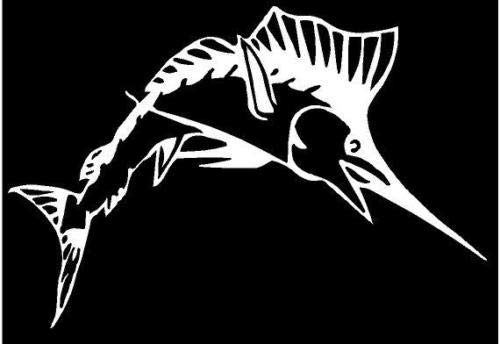 - White Vinyl Decal - Sailfish sail Fish Ocean Saltwater Fishing Fun Sticker Boat, Die Cut Decal Bumper Sticker for Windows, Cars, Trucks, Laptops, Etc.