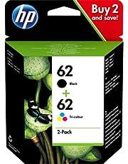 HP 62 Inktcartridge Zwart, Cyaan, Geel, Magenta, 2-Pack (Standaard Capaciteit) (N9J71AE) origineel van HP