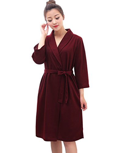 Belted Silk Coat - Women Long Sleeves Thin Bathrobe Waist Belted Hotel Robe (Large/X-Large, Wine Red)