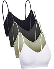 4 Pieces V Neck Cami Bra Padded Seamless Bralette Straps Sleeping Bra for Women Girls