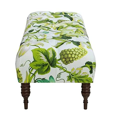 Amazon.com: Skyline Furniture Tufted Bench in Grandiflora Jardin: Kitchen & Dining