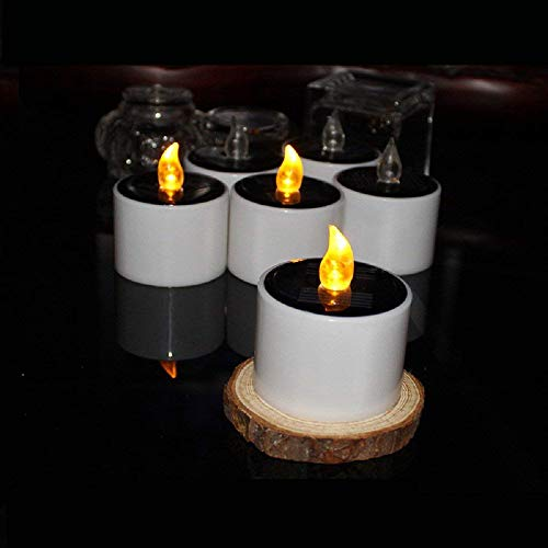 Favson Solar LED Tealight Candles Flameless Flickering Solar Tealights Operated 6Pcs Suitable for Festival Home Decoration Party Night Light Outdoor Activities Emergency Lights Gift (Yellow Light) by Favson (Image #2)