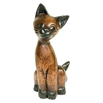 Gato de madera de acacia 17 cm, madera figura gato, talladas a mano, madera Gato: Amazon.es: Hogar