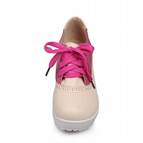 Carol Scarpe Donna Lace-up Moda Comfort Casual Chic Piattaforma Tacco Medio Scarpe Tacco Rosso Rosa