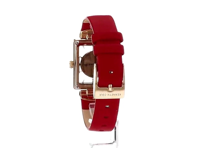 Kenneth Cole New York Women's Transparency Stainless Steel Japanese-Quartz Watch with Leather Strap, red, 15.1 (Model: KC50859005)