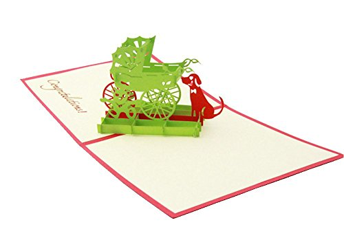 IShareCards Handmade 3D Pop Up Congratulations Greeting Cards for New Parents Newborn Babies Gifts (Baby Carriage Green)