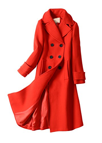 8ca2dd22de852 Winter a-Line Wool Blend Coat For Women Long Trench Peacoat Jackets Red Coat  Double Breasted Overcoat. by senco-girls