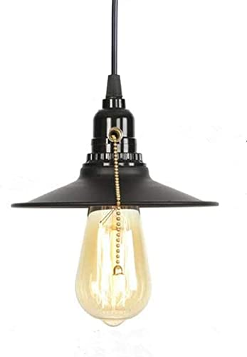 Black Pull Chain Switch Industrial Rustic Black Metal Pendant Light, Max 59.06 Inch Hanging Cord Length Ceiling Light Fixture.