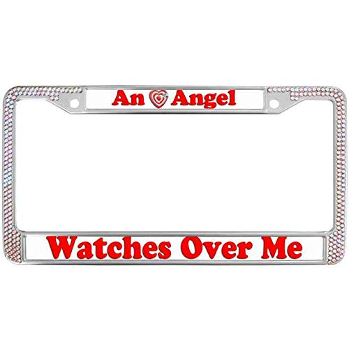 (JingangKing License Plate Frame Zinc Metal Frame Colorful Rhinestone Crystal Automotive License Plate Frame with Security Screws an Angel Watchs Over Me License Plate Metal Cover)