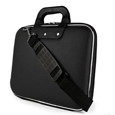 SumacLife Cady Collection Durable Semi Hard Shell Protective Carrying Case w/ Removable Shoulder Strap (Black) for Dell XPS 12 Convertible Ultrabook / Dell Latitude 12.5 inch Laptops