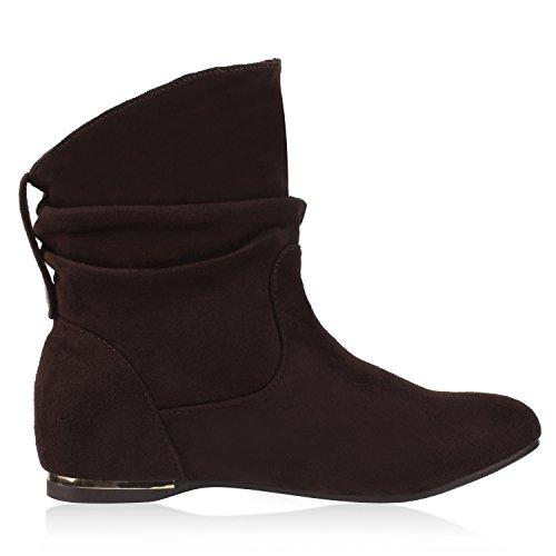 napoli-fashion - Botas plisadas Mujer marrón oscuro