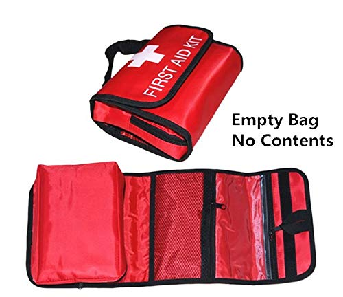 Jipemtra First Aid Bag Backpack, First Aid Backpack Empty Portable Outdoor Travel Small Rescue Bag Foldable Pouch Tote EVA Hard Case First Responder for Camping Sport (Red Foldable) ()