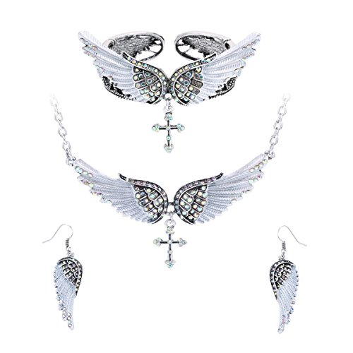 Szxc Jewelry Women's Angel Wing Cross Pendant Necklace Bangle Bracelet Earrings biker Jewelry ()