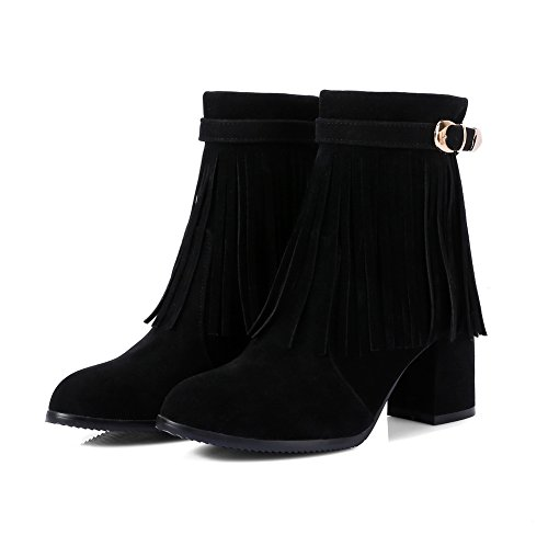 AdeeSu Womens Fringed Metal Buckles Square Heels Suede Boots SXC02534 Black ddV7P