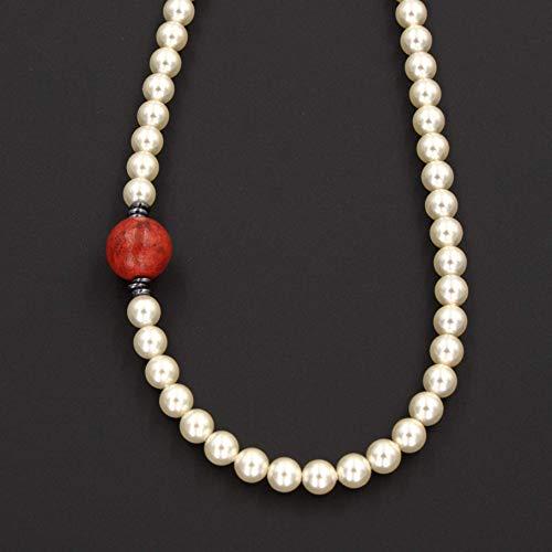 Red Sponge Coral Necklace - Swarovski Cream Glass Pearls, Silver 16-in