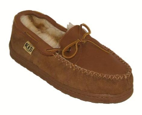 RJ's Fuzzies Elk Leather Upper & Sheepskin Lined Rainer Moccasins (Chestnut, 11) by RJ's Fuzzies (Image #1)'