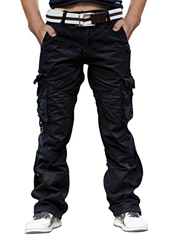 SKYLINEWEARS Mens Casual Cargo Pants Military Army Styles Cotton Trousers Black Black Cargo Trousers