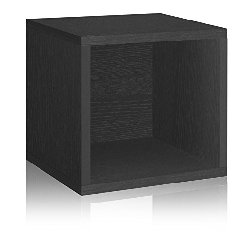 Way Basics 11.2 L x 13.4 W x 12.8 H Eco Stackable Storage Cube and Cubby Organizer, Black Wood Grain (Tool-Free Assembly and Uniquely Crafted from Sustainable Non Toxic zBoard paperboard)