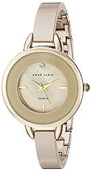 Anne Klein Women's AK/2132TNGB Diamond-Accented Tan Ceramic Bangle Watch