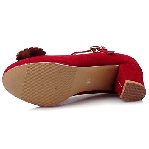 COOLCEPT Mujer Moda Correa de Tobillo Clasico Boca Baja Zapatos Mujer lindo Tacon Bombas Zapatos con Bowknot Rojo