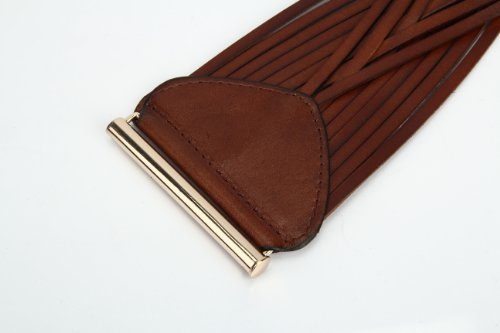 Women's Korean Style Simple Fashion Leather Wide Weave Belt (Brown) by RUI (Image #5)