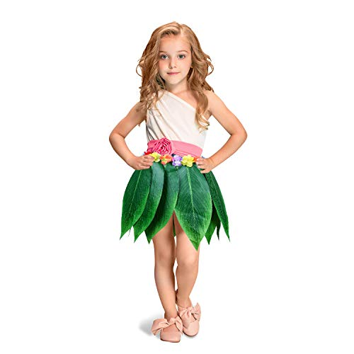 Ti Leaf Hula Skirt Hawaiian Green Leaves Grass Skirt Summer Party DIY Props for Costume Beach Party Decoration (Kid, 22in Waist) ()