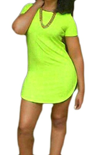 Crew Split Coolred Pattern1 Neck Slim Evening Colored Solid Women Dresses Oversized Sleeve Short Club 6SqaBw