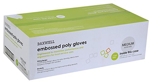 Daxwell Embossed Poly Gloves, Medium, Clear (10 x 10 x 100, Total: 10,000) by Daxwell