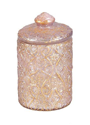 B. Boutique 7CDL027 - Tarro de vidrio en relieve con papel de aluminio dorado, talla única, color rosa