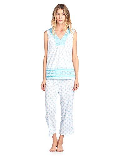 (Casual Nights Women's Printed Sleeveless Tank Top & Capri Pajama Set - Aqua - Large)