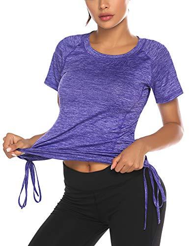 ADOME Womens Workout Top Running Yoga Shirt Summer Short Sleeve Casual Tunic