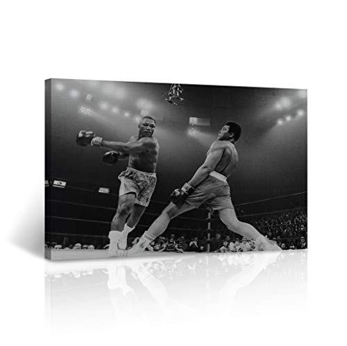 Muhammad Ali`s Defense from Joe Frazier's Punch Picture Canvas Print Decorative Black and White Wall Art Home Decor Artwork Stretched - Framed Ready to Hang -%100 Handmade in The USA 30x40