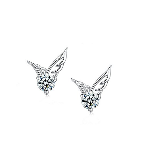 Winter's Secret Pure white Angel Wings AAA Zircon Accented Shining Romantic Stud Earring