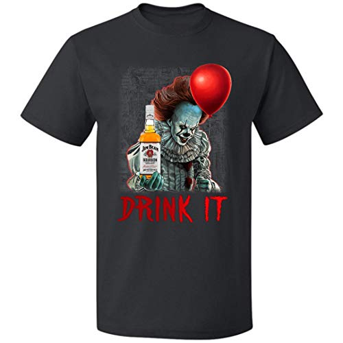 Jim Beam Halloween Costume (Drink It Jim-Beam Penny-Wise Red Balloon Halloween Costumes Unisex T Shirt for Mens Womens Up to 5XL (Black -)