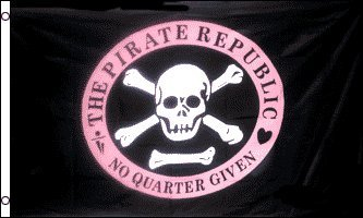 (AZ FLAG Pirate Republic Pink Flag 3' x 5' - Skull Pirates Flags 90 x 150 cm - Banner 3x5 ft )