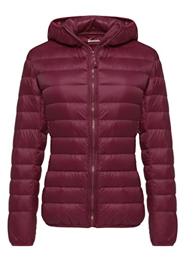 Wantdo Women's Hooded Packable Ultra Light Weight Short Down Jacket(Wine Red, 3XL)